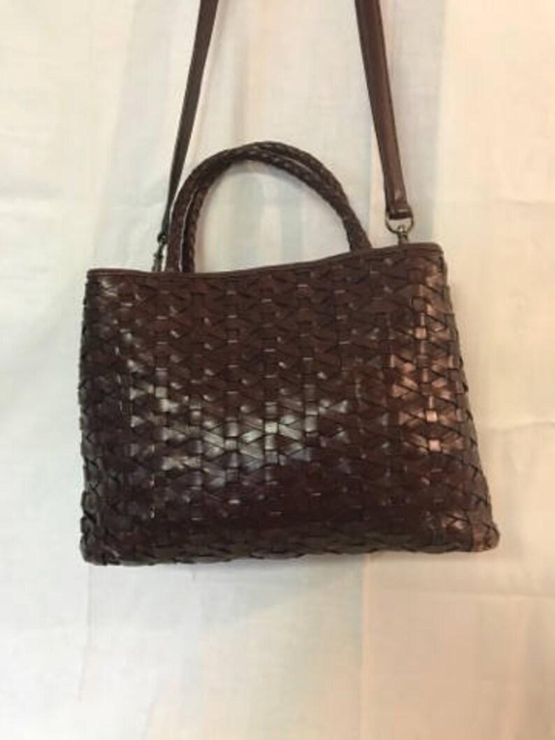 cd08bb6ba Gorgeous Dark Brown Leather Purse Basketweave Pattern   Etsy
