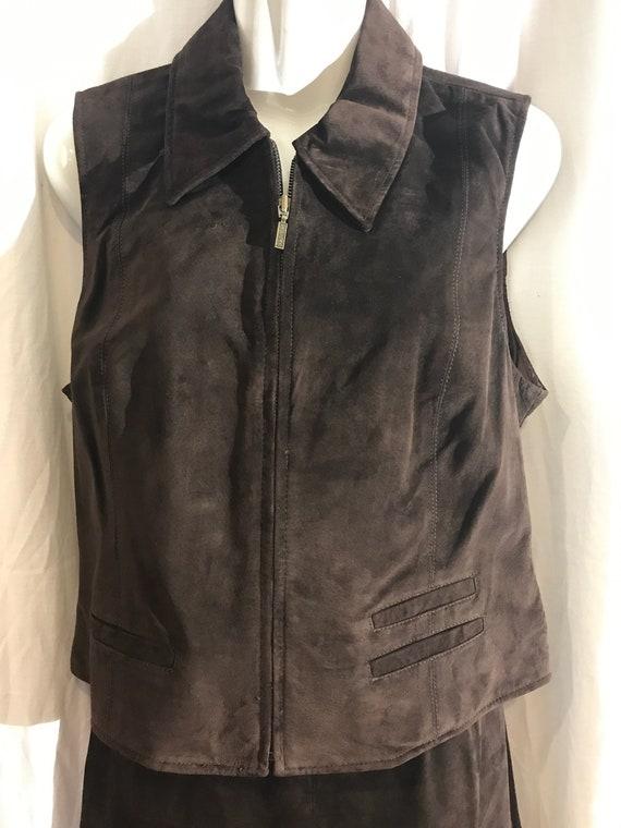 Vintage 2 pc, Suede Vest, Suede Skirt, Siena Studi