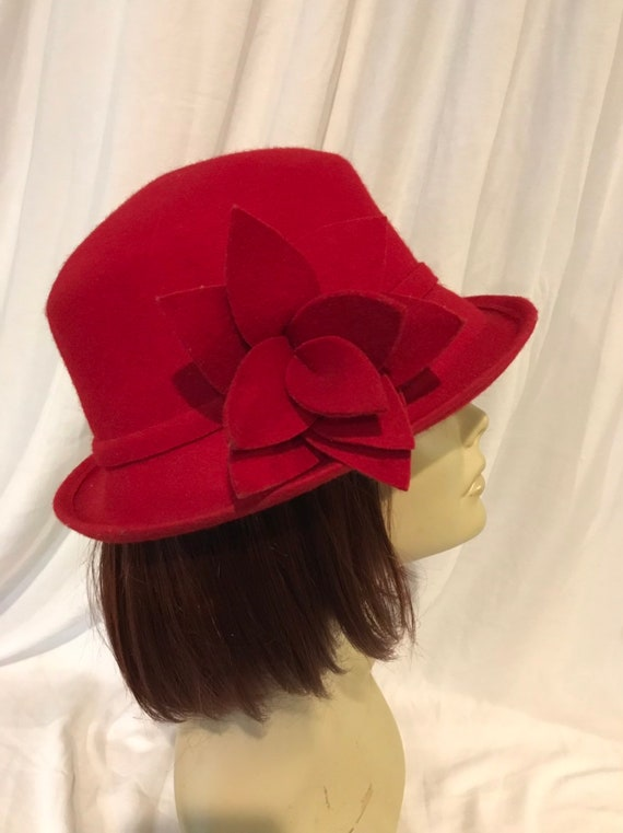 Candy Apple Red Hat, Red Wool Hat, 100% Wool Hat,