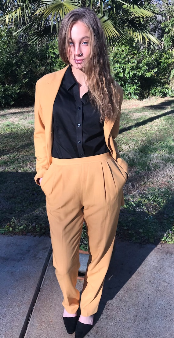 Oleg Cassini Suit, Mustard Suit, Jacket and Pants,
