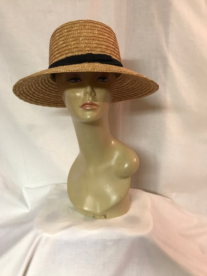 985990b4d1206 Vintage Hat Ladies Straw Hat Tan Straw Hat Black Band Sun