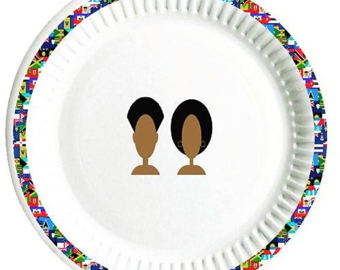 Caribbean paper party plates 8 pieces in a pack