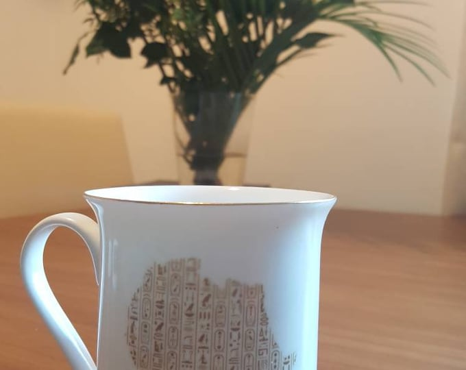 Gold trimmed Egypt mug