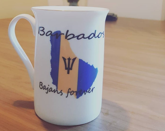 Gold rimmed Barbados mug
