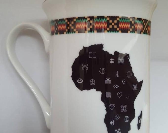 Gold trimmed Adinkra mug