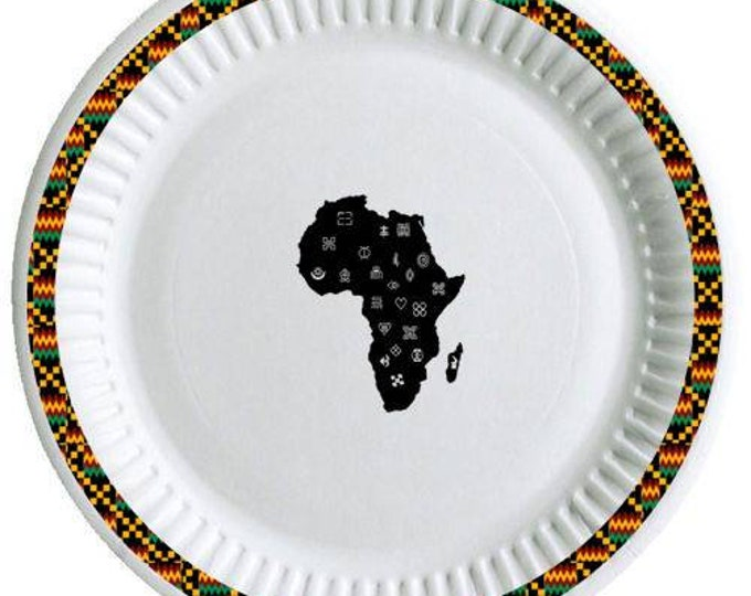 Adinkra paper party plates 8 in a pack