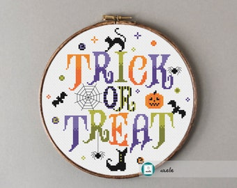Trick or treat cross stitch pattern, Halloween cross stitch pattern, modern cross stitch pattern, PDF, instant download