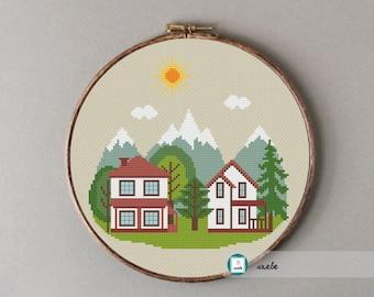 Mountain cottage cross stitch pattern, modern cross stitch pattern, PDF, instant download