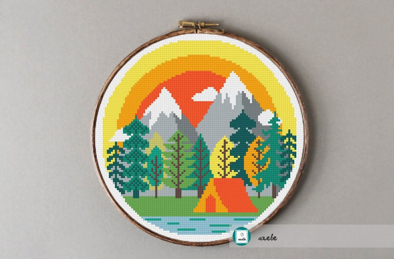 Camping at the mountains cross stitch pattern modern cross image 0