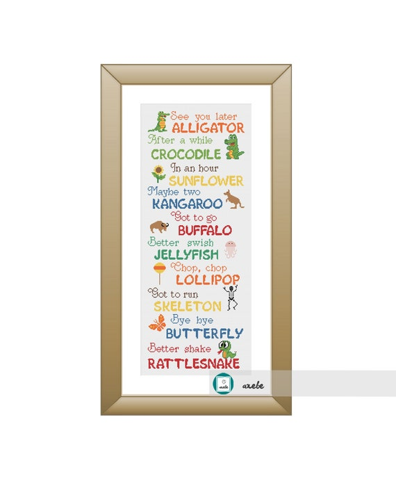 photograph relating to See You Later Alligator Poem Printable identified as Perspective yourself afterwards alligator goodbye poem cross sch habit, impressive sampler, pets cross sch, PDF, Do-it-yourself ** fast obtain**