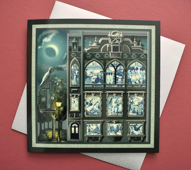 12 Days Of Christmas Card Set  Fine Art Christmas Card x 5  Luxury Blank Christmas Card  Victorian Christmas Song Festive Card