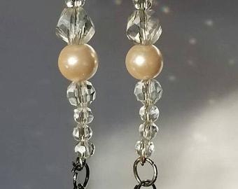 Crystal Beaded Earrings   Pearl Beaded Earrings   Bridesmaid Gifts   Bridal Jewelry   Pearl Dangle Earrings   Gift for Her