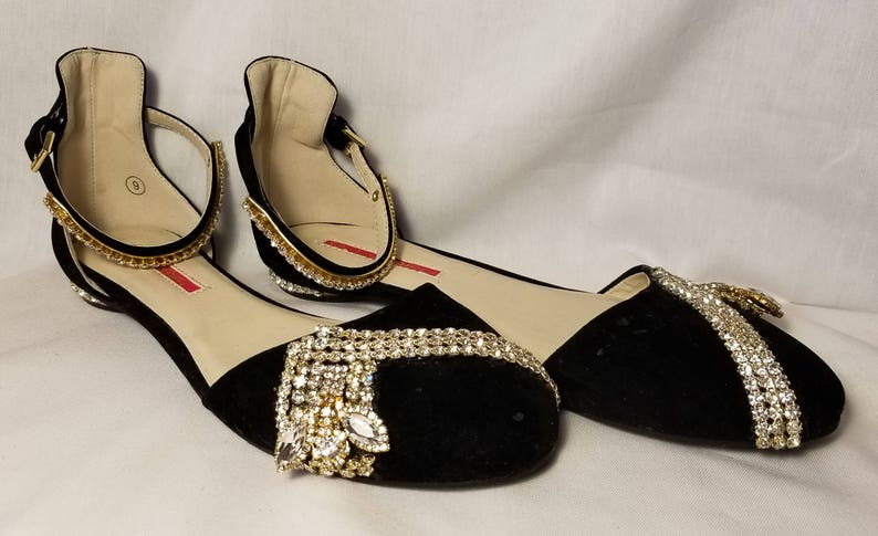 6dc49e43f Black and Gold Crystal Ankle Strap Flat Wedding Shoe