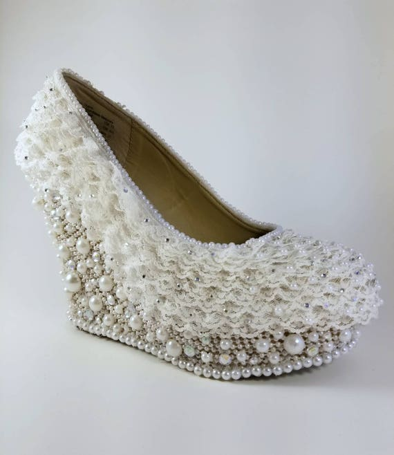 Bridal Wedges | Wedding Shoes Wedges | Lace Covered Heels | Wedding Shoes for Bride | Comfortable Bridal Shoes | Lace Wedding Shoes |