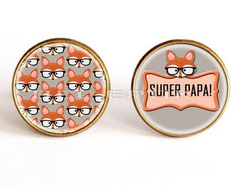 "Fox ""super Dad"" cufflinks orange fancy - party dads"