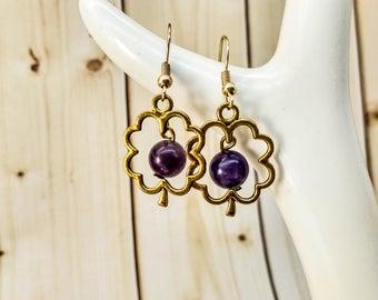 Amethyst earrings Gemstone earrings Purple Earrings Statement earrings Clover earrings Good luck earrings Beautiful earrings Simple jewelry