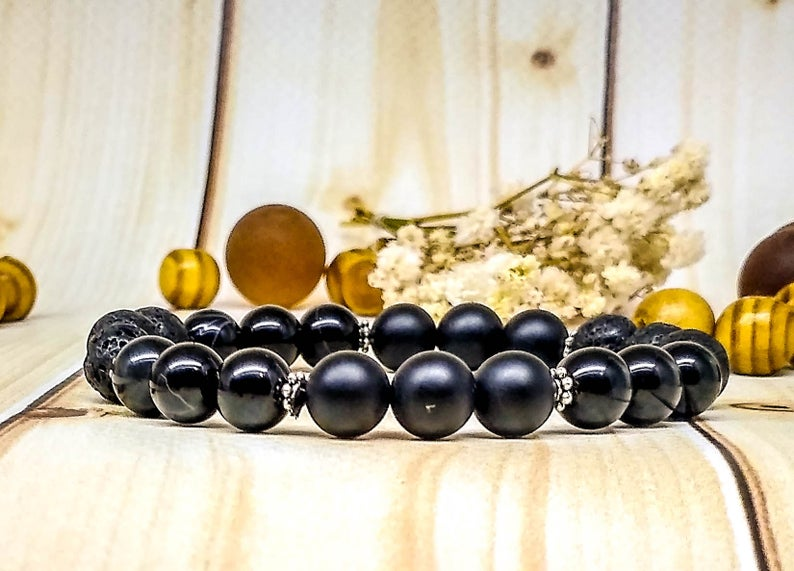 Black jewelry Black bracelet Black gemstone Gothic Unisex bracelet Black gift Power stone bracelet Gem bracelet Dark Calming bracelet