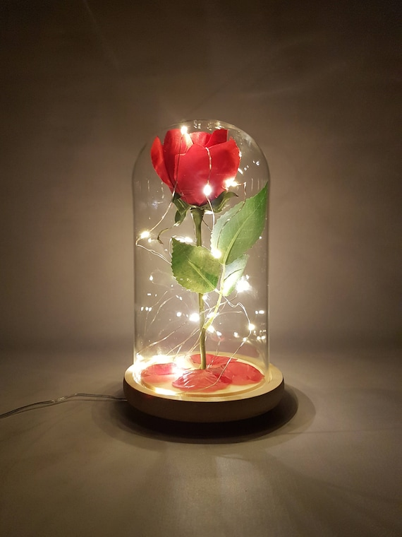 Beauty And The Beast Glass Rose Dome Led Light Rose Led Night Etsy