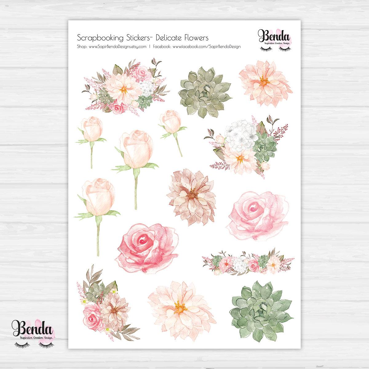 flowers planner sticker kit floral stickers planner | etsy