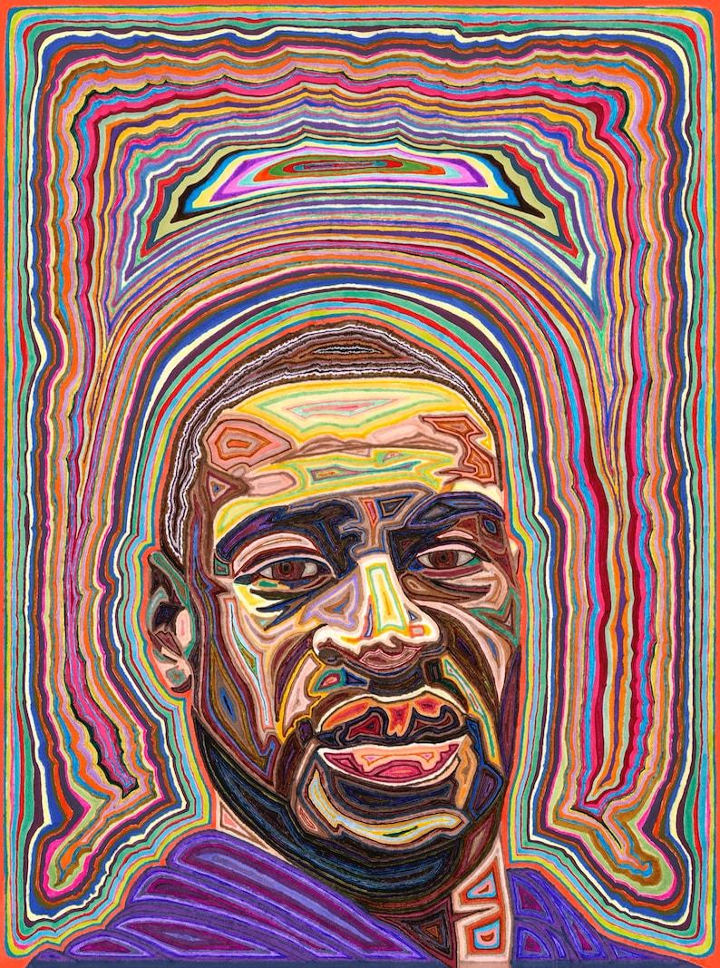 Print of George Floyd portrait  Profits donated to Black image 0