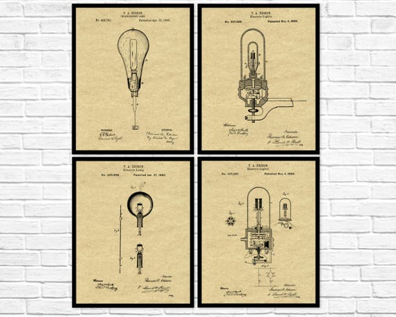 Edison Set Gloeilamp Uitvindingen Van 4 Thomas Edison Gloeilamp Design Van Vier Prenten Gloeilamp Octrooi