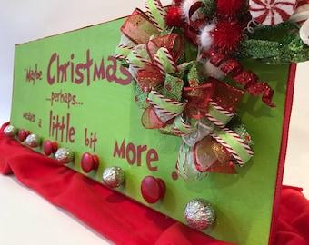 Stocking holder , whimsical stocking hanger, grinch, holiday cheer
