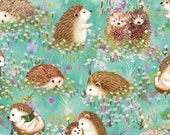 Paintbrush Studio - Hedgehog Village - Hedgehogs - Turquoise - Cotton Fabric by the Yard or Select Length 120-13741 photo