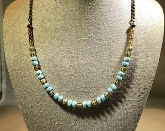 Turquoise and Gold Dreams Necklace