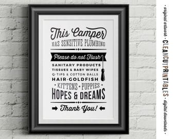 Camper Sign Sensitive Plumbing - Do Not Flush Hopes & Dreams - Printable funny wall art toilet - black white vintage sign - instant download