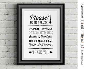 Please Do Not Flush Money Booze Hopes & Dreams :D - funny toilet quote sign -Printable Artwork - digital art toilet - instant download PDF