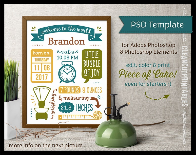 DIY Editable BIRTH ANNOUNCEMENT for Photoshop (Elements) - psd birth stats  template - cute print sign poster wall art large instant download