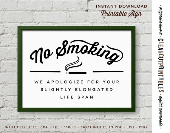 It's just a photo of Playful No Smoking Sign Printable
