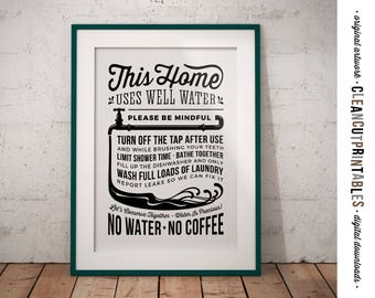Water Rules Sign for Home with Water Well - save water conserve drought waste funny coffee - PDF JPG PNG instant download graphic printable