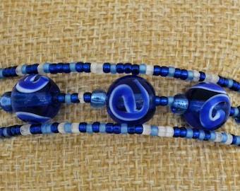 Blue Swirl 3 Wrap Memory Wire Bracelet