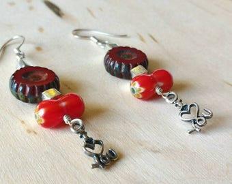 I love you Earrings, Glass earrings, Sterling Silver Earrings, Millefiori Glass Earrings,Czech Glass Earrings,Holiday Gifts for Her