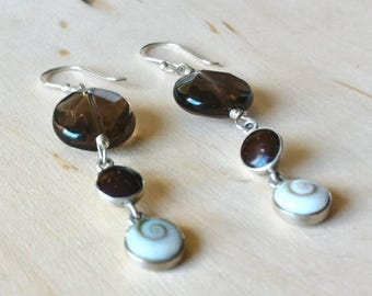 Smokey Quartz Earrings, Sterling Silver Earrings, MOP Earrings,White and Brown Earrings, Holiday Gifts for Her under 50