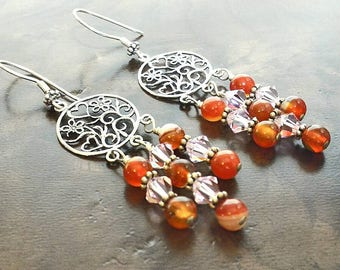 Orange Chandelier Earrings, Sterling Silver Earrings, Gemstones Earrings, Swarovski Bicone Earrings, Chandelier Earrings, Gift for Her