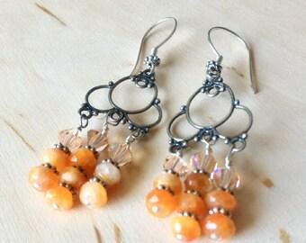 Orange Chandelier Earrings, Sterling Silver Earrings, Gemstones Earrings, Swarovski Earrings, Bicone Earrings, Calcite Earrings,Gift for Her