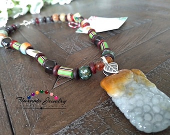 Mother of Pearl and Millefiori Necklace, Ancient Millefiori Necklace, Statement Necklace, Sterling Silver Necklacce, Kazuri Necklace