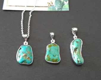 Turquoise and Sterling Silver Pendant, Sterling Silver Necklace, Gemstone Necklace, Free Form Turquoise Necklace, Gift for Her,Free shipping