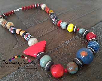African Statement Necklace, Kazuri Necklace, Multi-Color Necklace, Boho Necklace, Sterling Silver Necklace, Mother's Day Gift
