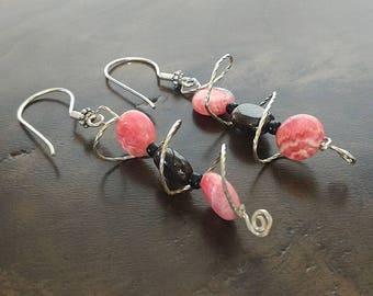 Pink and Brown Earrings, Wire Wrapped Earrings, Sterling Silver Earrings, Garnet Earrings,Rhodonite Earrings, Gemstone Earrings,Gift for Her
