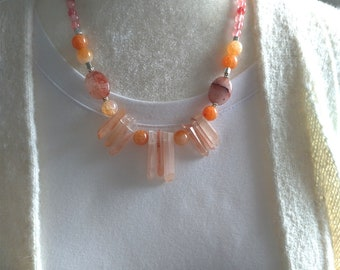 Quartz Necklace, Gemstones Necklace, Pink Necklace, Aventurine Necklace, Gift for Mom, Gift for Her