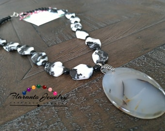 Montana Agate Necklace, Zebra Jasper Necklace, Black and White Necklace, Oval Pendant Necklace, Mother's Day Gift, Birthday Gift