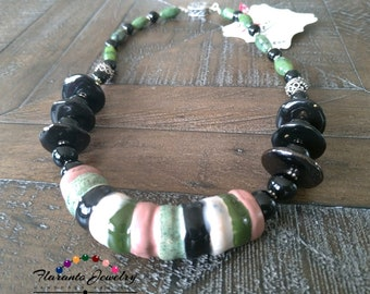 Kazuri and Jade Necklace, Green and Black Necklace, Mother's Day gift, Bali Beads Necklace