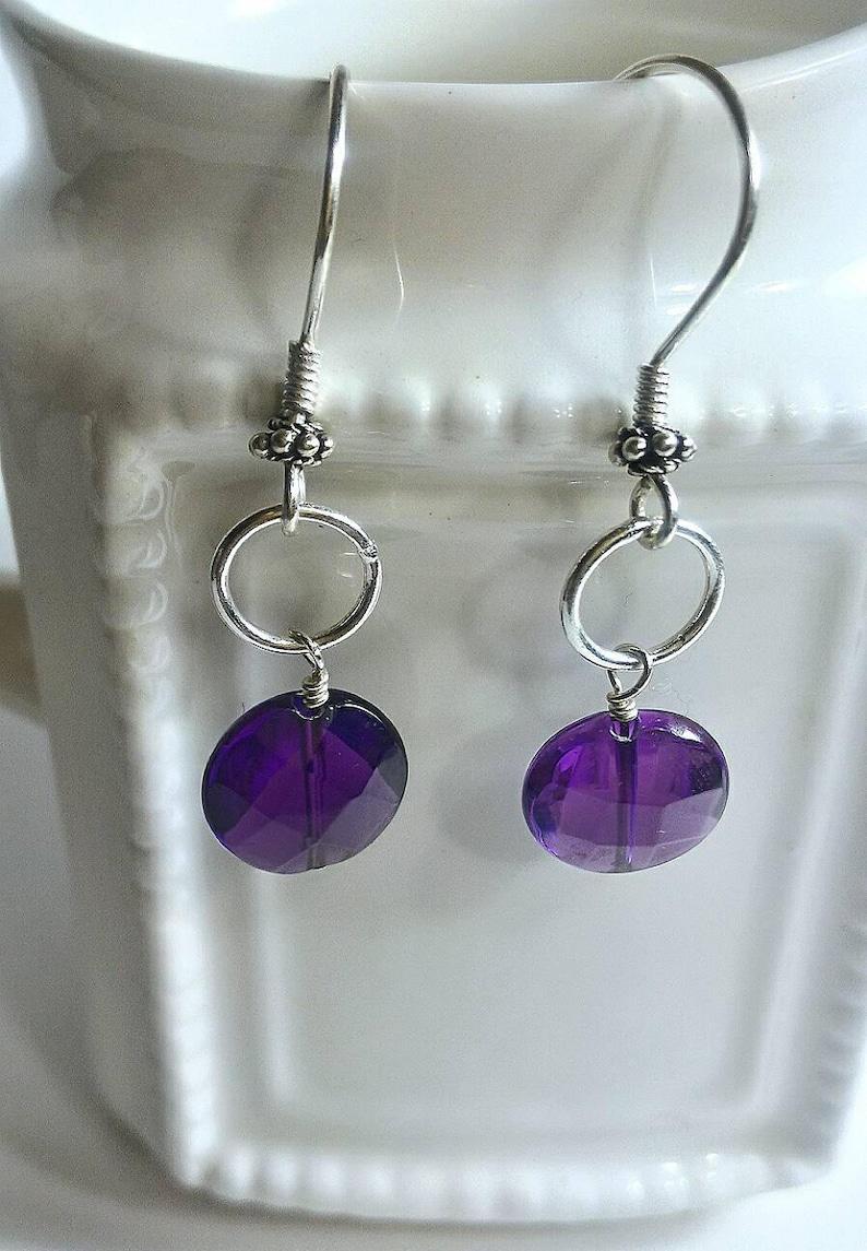 Ring Earrings Faceted Amethyst Quartz Earrings Holiday Gift Sterling Silver Earrings Purple Earrings Quartz Earrings Valentine Gift