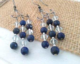 Lapis Chandelier Earrings, Sterling Silver Earrings, Blue Gemstones Earrings, Swarovski Bicone Earrings, Chandelier Earrings, Gift for Her