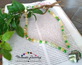Prehnite and Natural Onyx Necklace, Kazuri Necklace, Green Impression Jasper Necklace, Gemstones Necklace, Yellow and Green Necklace