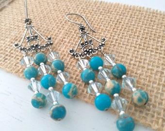 Blue Chandelier Earrings, Sterling Silver Earrings, Gemstones Earrings, Swarovski Bicone Earrings, Gift for Her