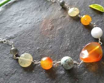 Carnelian, African Turquoise, Jade, Prehnite and Bloodstone Chain Necklace, Sterling Silver Necklace, Free Shipping, Gift for Her